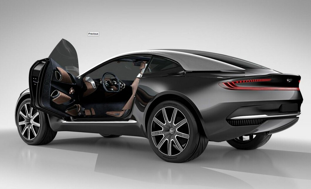 LADBAR: Aston Martins nye SUV kommer i 2019 og får ladbart hybriddrivverk.