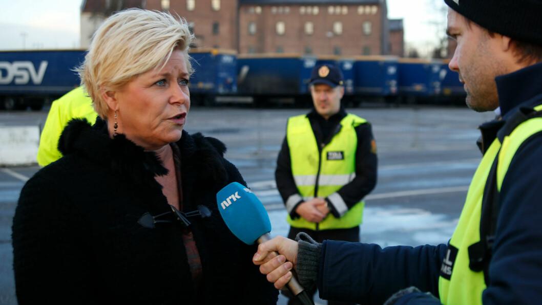 INGEN SIGNALER: Foreløpig har myndighetene og finansminister Siv Jensen ikke gitt noen signaler om eventuelle avgiftsreguleringer som følge av nye forbrukstester. Foto: Tor Martin Bærum
