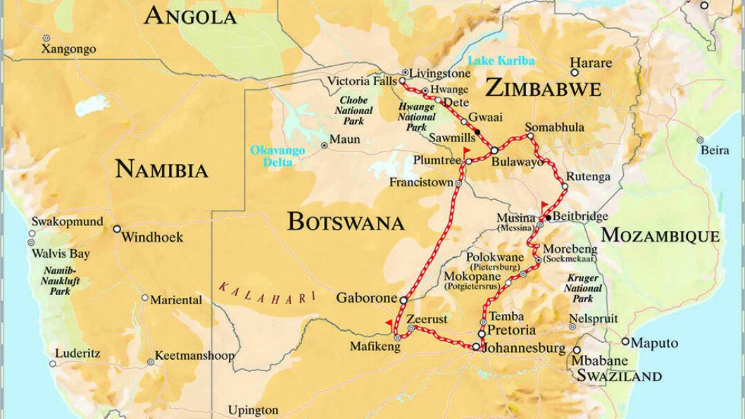Kartet viser reiseruten for Rovos Rail, fra Pretoria i Sør-Afrika, via Botswana og til Victoria Falls på grensen mellom Zimbabwe og Zambia.
