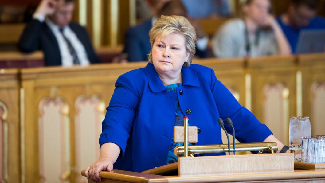 STYRER VIDERE? Statsminister Erna Solberg fra en spørretime i Stortinget i vår. Foto: Stortinget