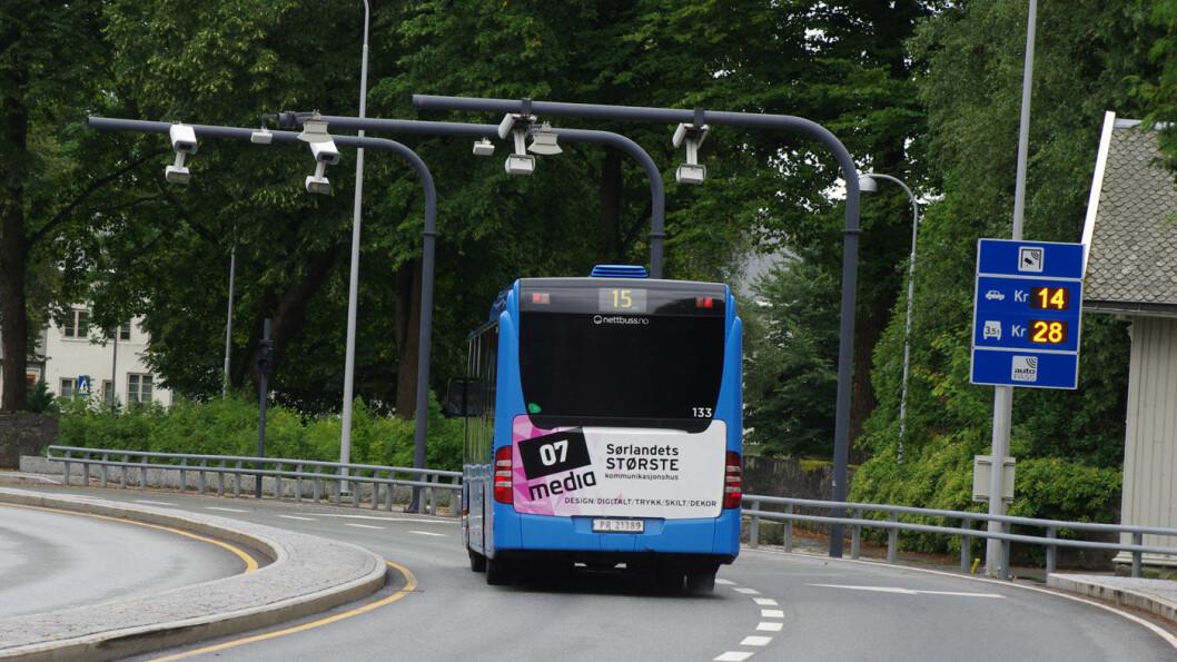 LITE I NTP: Det meste av bompengeinntektene i bypakkene, som her i Kristiansand, er ikke nevnt i Nasjonal transportplan. Foto: Geir Røed