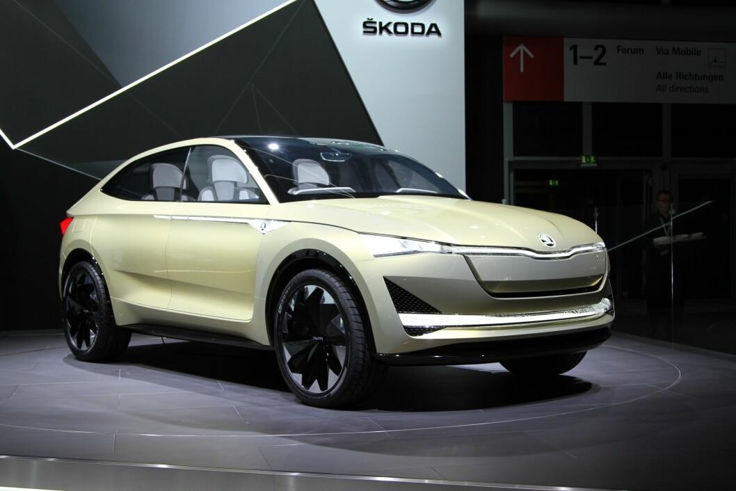 VISION E: Skodas elektriske bil har fire seter, to motorer på 306 hester og er like stor som en Kodiaq. Foto: Rune Korsvoll