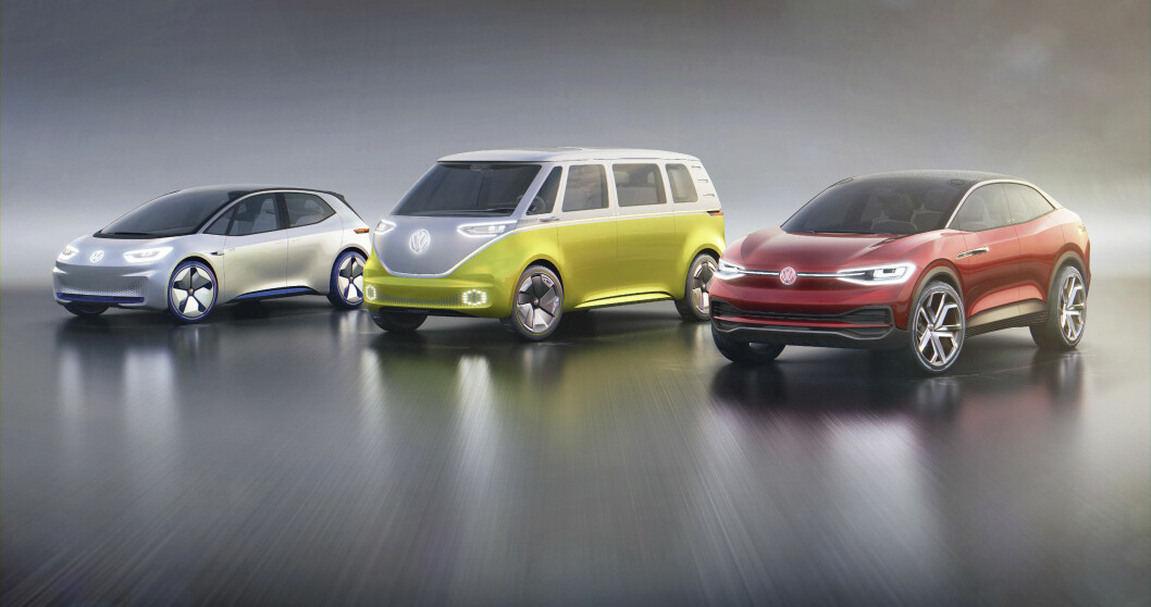 ELEKTRISK FAMILIE: Dette er de første bilene i VWs nye elbil-familie: ID Crozz, ID Buzz og ID Neo. Bilene kommer på veien fra 2020.