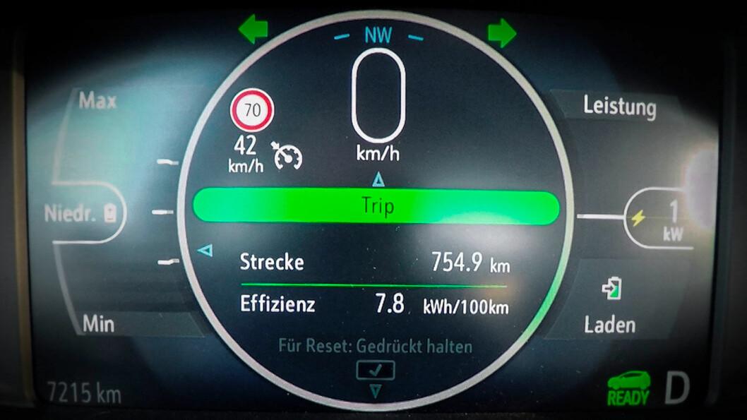 SLUTTKJØRT: Slik ser trip-telleren ut på en Opel Ampera-e når du kjørt så langt som mulig. Foto: Opel