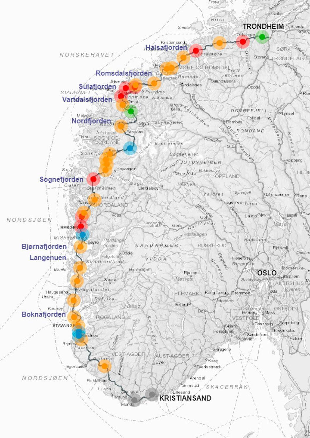 KART: Statens vegvesen har laget et interaktivt kart for alle som vil vite mer om ferjefri E39 på Vestlandet.ILLUSTRASJON: STATENS VEGVESEN.