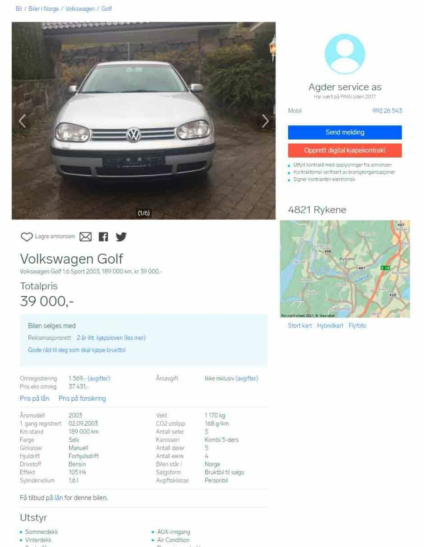 TIL SALGS: Faksimile fra finn.no