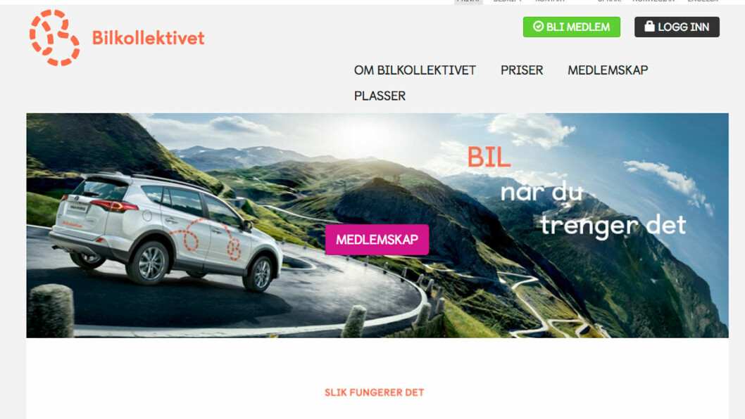 ÅRETS FORETAK: Bilkollektivet SA har vokst til å bli Norges største bilpool. Foto: Skjermdump av hjemmesiden