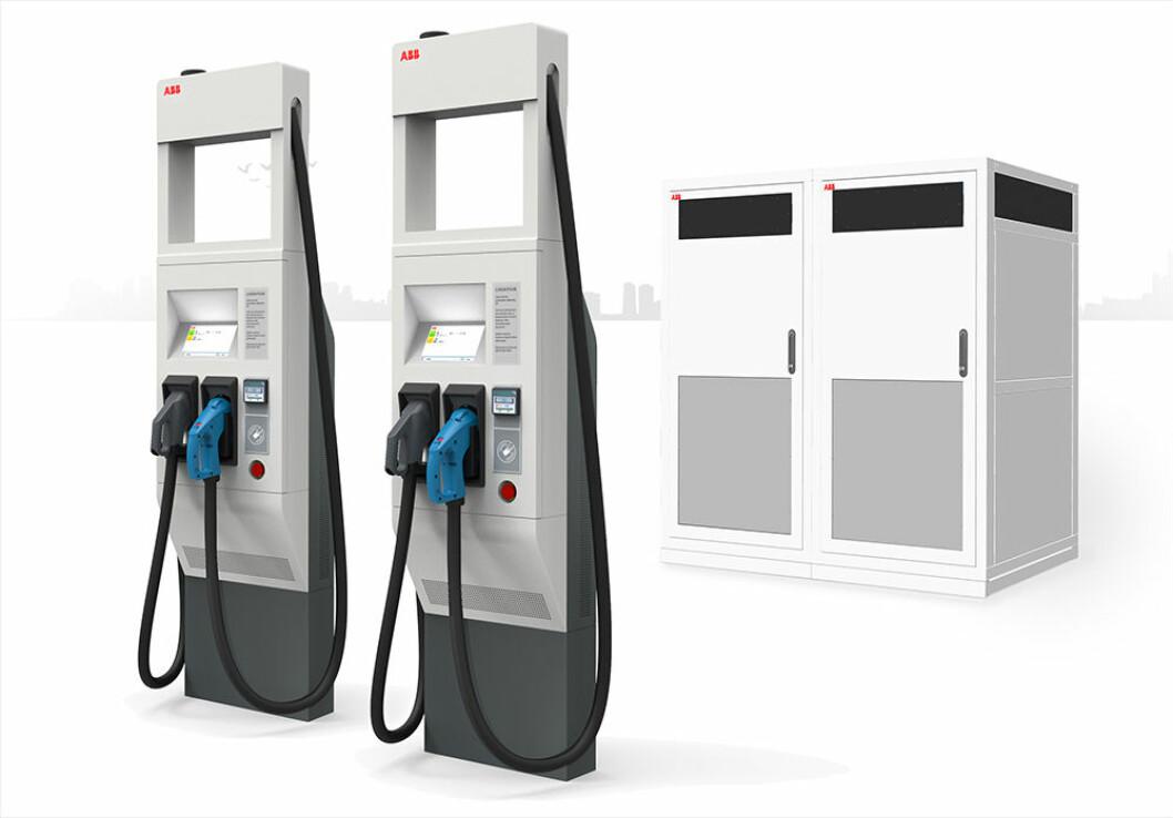 KRAFTPLUGGER: ABB lanserer de første 150-350 kW høyeffektslader for elbiler, som kan lade flere ganger raskere enn majoriteten av dagens utgaver.