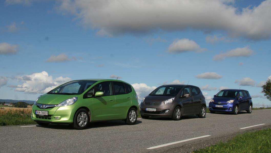 TRE GODE BRUKTBILKJØP: Disse tre småbilene er driftssikre og praktiske til under 100.000 kroner.
