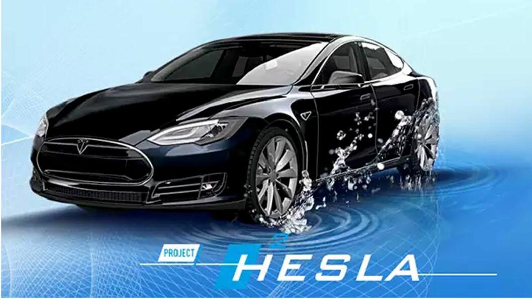 FRA TESLA TIL HESLA: Denne ombygde Tesla Model S går over 1000 km med innmontert hydrogentank og brenselcelle, hevder produsenten.