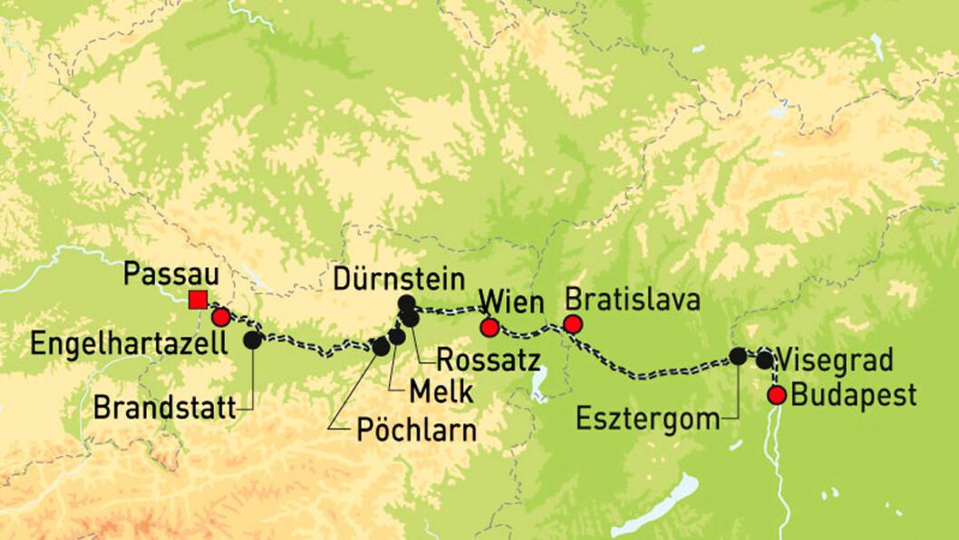 TRE LAND, TRE HOVEDSTEDER: Kartet viser ruten for sykkelcruiset vårt.