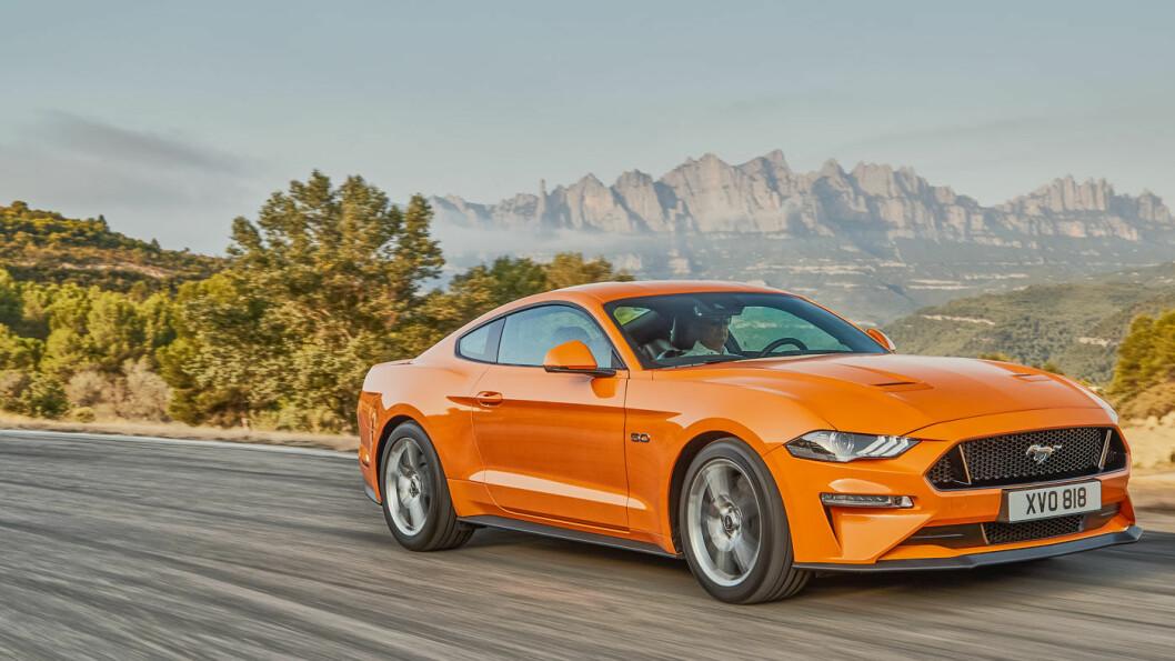 FARLIGST FOR BARN: Den er kul, men Ford Mustang 5.0 Fastback, LHD skårer klart dårligst når det kommer til kollisjonssikkerhet for barn i bilen. Foto: Ford