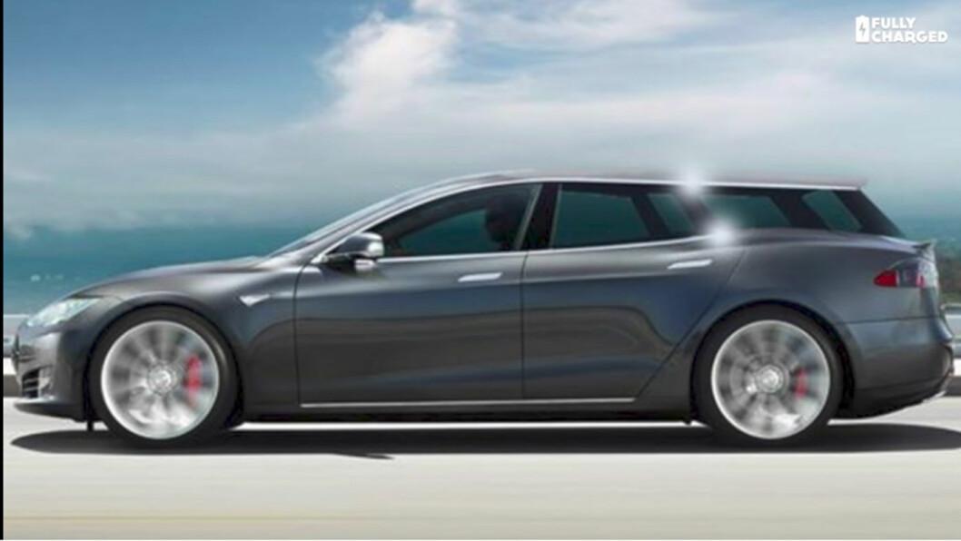 TEGNING: Slik ser en Tesla stasjonsvogn ut