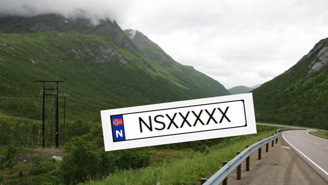 BRUKES IKKE: Et bilskilt som begynner på «NS» anses for å være støtende, og er noe vi stadig slipper å se på norske biler.