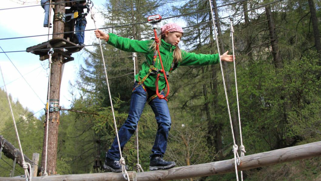 KLATREMORO: I klatreparken kan alle la seg utfordre. Foto: Forest Fun Park
