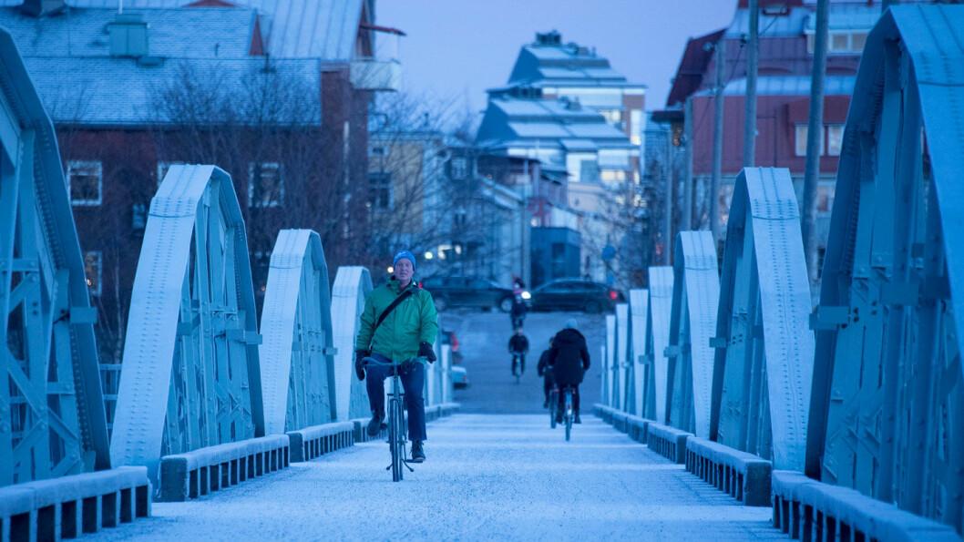 SYKKEL FOR BIL? Den svenske byen Umeå er en av byene som har satset kraftig på utbygging og vedlikehold av sykkelveier, med det resultat at folk sykler i stort antall –hele året. Foto: Jon Terje Hellgren Hansen