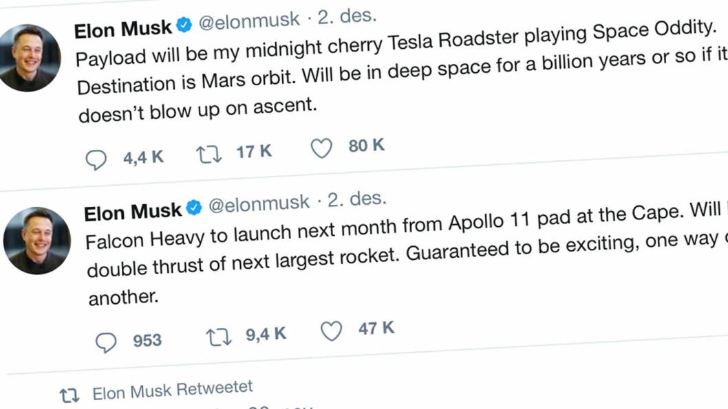 MUSK-MELDING: – Jeg elsker tanken på en bil som svever tilsynelatende endeløst gjennom verdensrommet, sier Tesla-gründer Elon Musk.