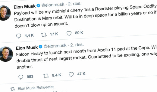 Elon Musk vil sende Tesla ut i verdensrommet