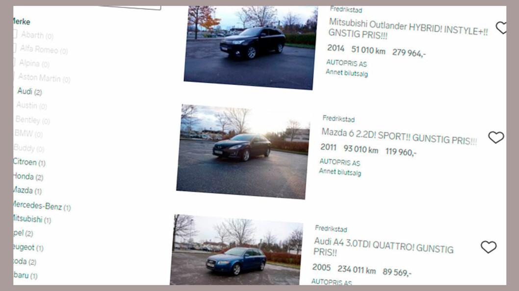 BILER FOR SALG: Autopris hadde tirsdag 15 biler for salg på Finn.no – blant annet disse tre. Senere denne uka var selskapets nettside nede.