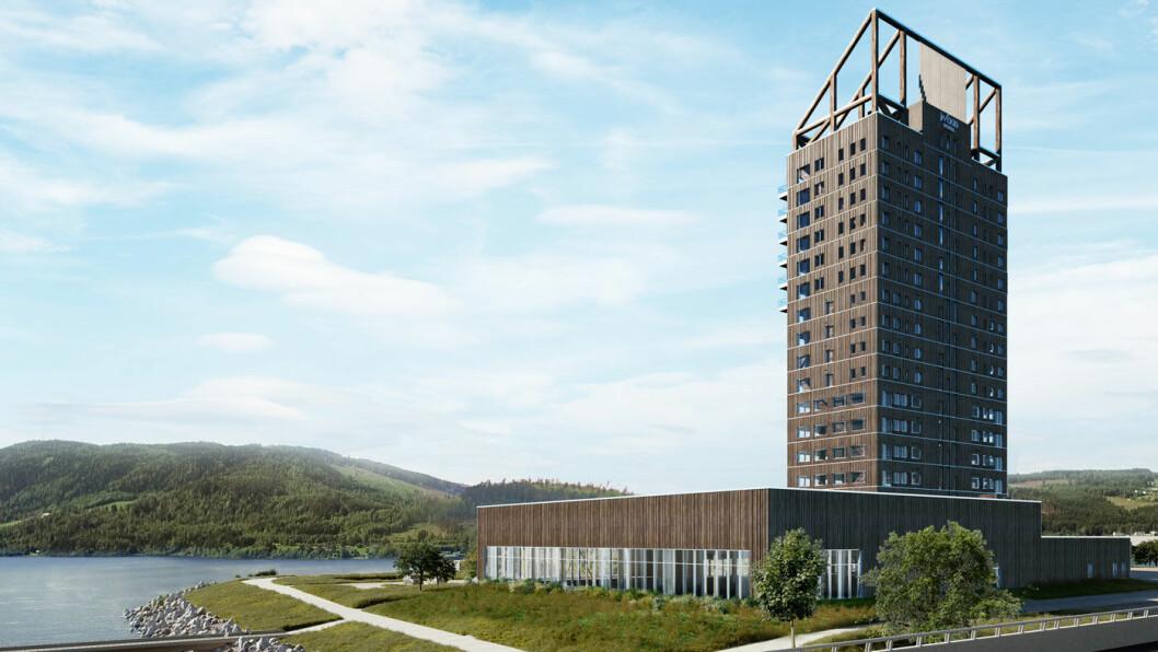 HØYEST I VERDEN: Mjøstårnet i Brumunddal blir verdens høyeste trebygning. Foto: Hent