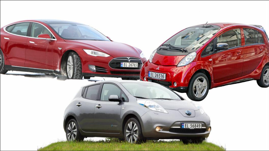 GODE BRUKTE ELBILER: Tesla Model S (t.v.), Nissan Leaf (i midten) og Mitsubishi i-Miev er gode bruktbilkjøp.