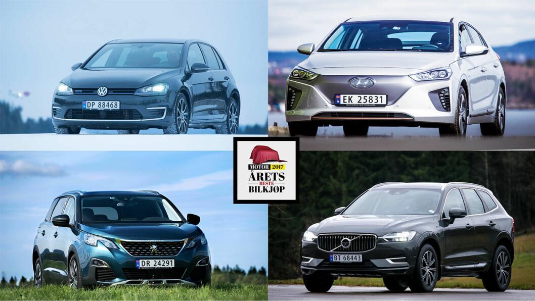 ÅRETS BILKJØP: Her er de fire klassevinnerne (med klokka fra oppe til høyre) – elbilen Hyundai Ioniq, premium-SUV'en Volvo XC60, familiebilen Peugeot 5008 og kompaktbilen VW Golf.