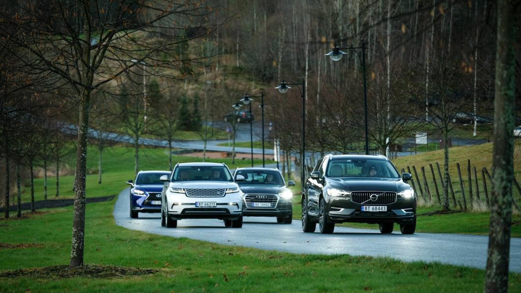 FØRSTEKLASSES: To av disse premium-SUV'ene scorer høyt hos våre eksperter. Fra venstre: Lexus NX, Range Rover Velar, Audi Q5 og Volvo XC60. Foto: Jon Terje Hellgren Hansen