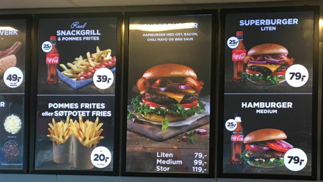 NYE BURGERE: Fiskeburgere, vegetarburgere og burgere med kylling slåss med tradisjonelle burgere om oppmerksomheten hos Circle K. Foto: Pia Strømstad