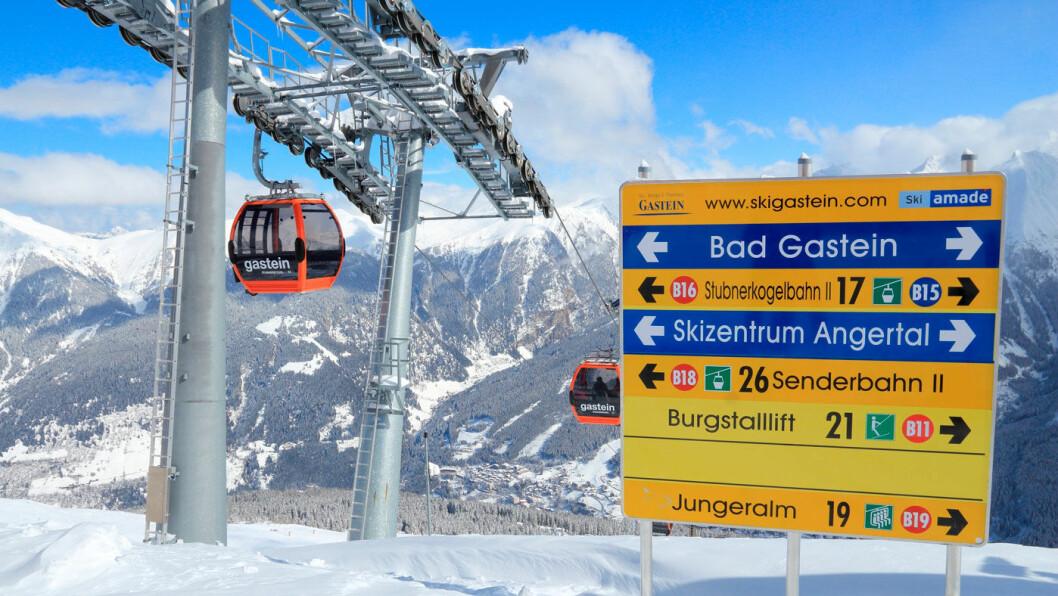 SKIMEKKA: I Bad Gastein i Østerrike kan du kjøre opp og ned hele dagen, og alle finner en bakke som passer. Foto: Shutterstock