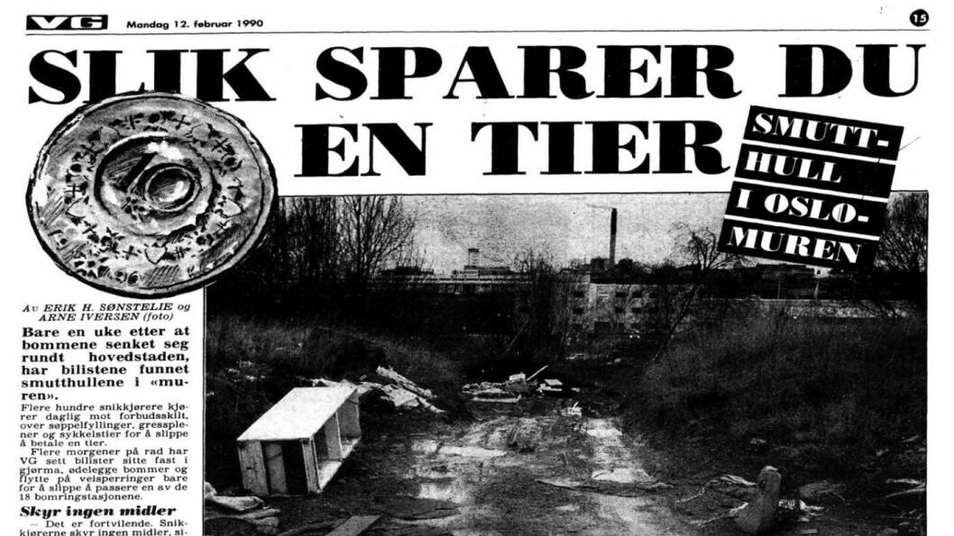 28 ÅR SIDEN: Allerede i 1990 omtalte VG snikingen for første gang. Faksimile: VG