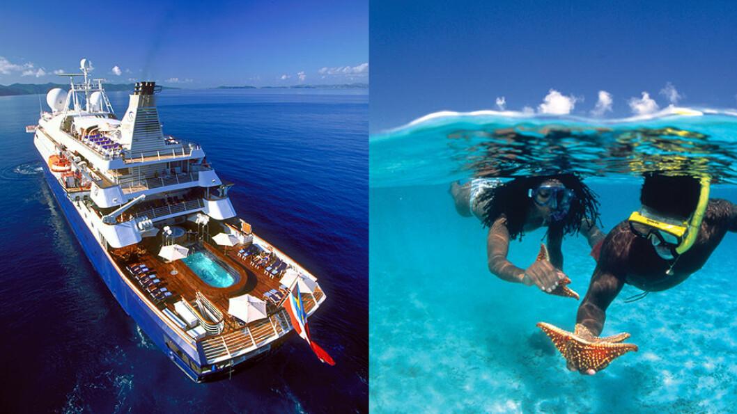 Et luksuscruise om bord på dette lille cruiseskipet tar deg til havner de store cruiseskipene ikke går, og man kan bade og drive med vannsport fra badeplattformen akterut.