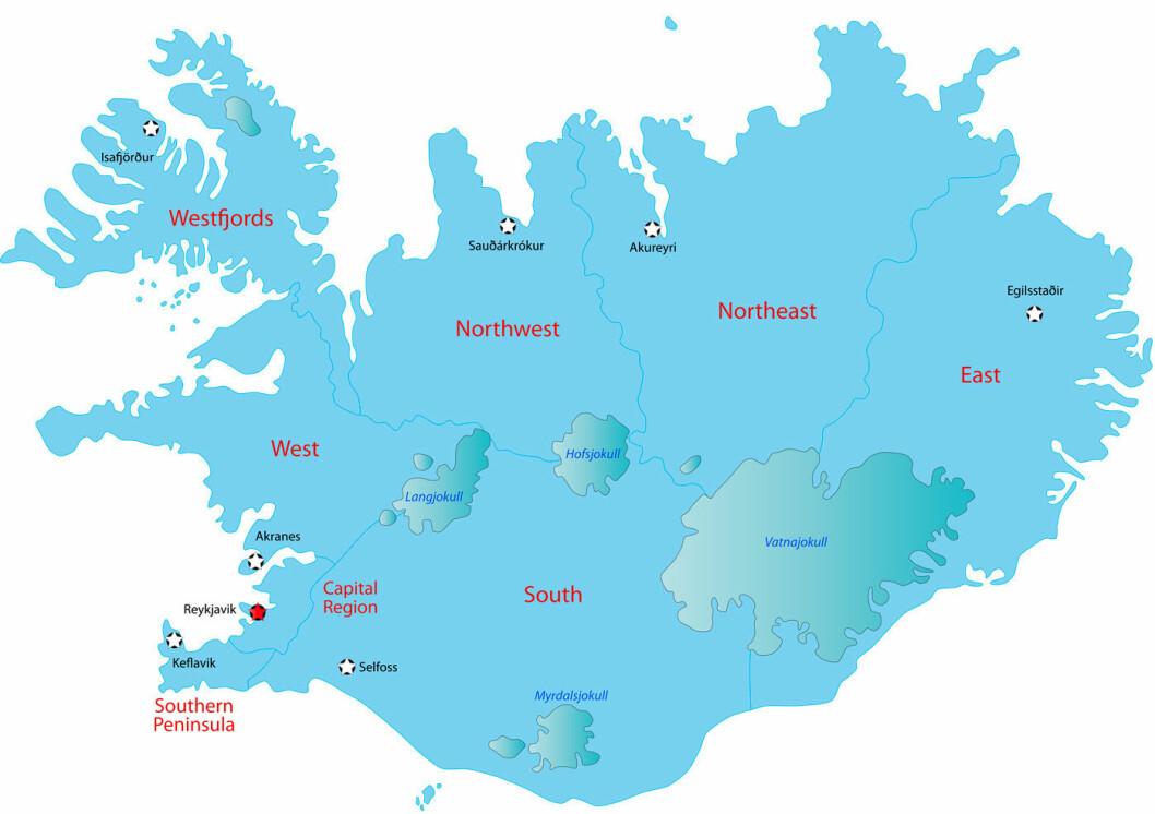 ET VEIVALG: Vi kjørte øya rundt fra øst mot vest. Men selv om distansen fint kan kjøres på fire dager, lønner det seg å legge inn ekstra tid så dere rekker å ri, rekker å bade i varme kilder og rekker å få med dere den ville naturen. Ill. Dreamstime