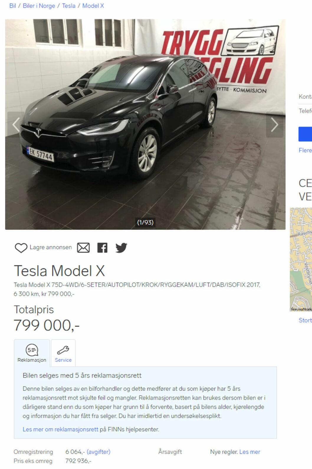 SLIPPER (IKKE) AVGIFT: Inntil videre må du betale omregistreringsavgift for elbiler. Dermed må du betale 799 000 kroner for denne Teslaen, og ikke 793 000 kroner – før eventuell pruting. (Faksimile av annonse fra Finn).