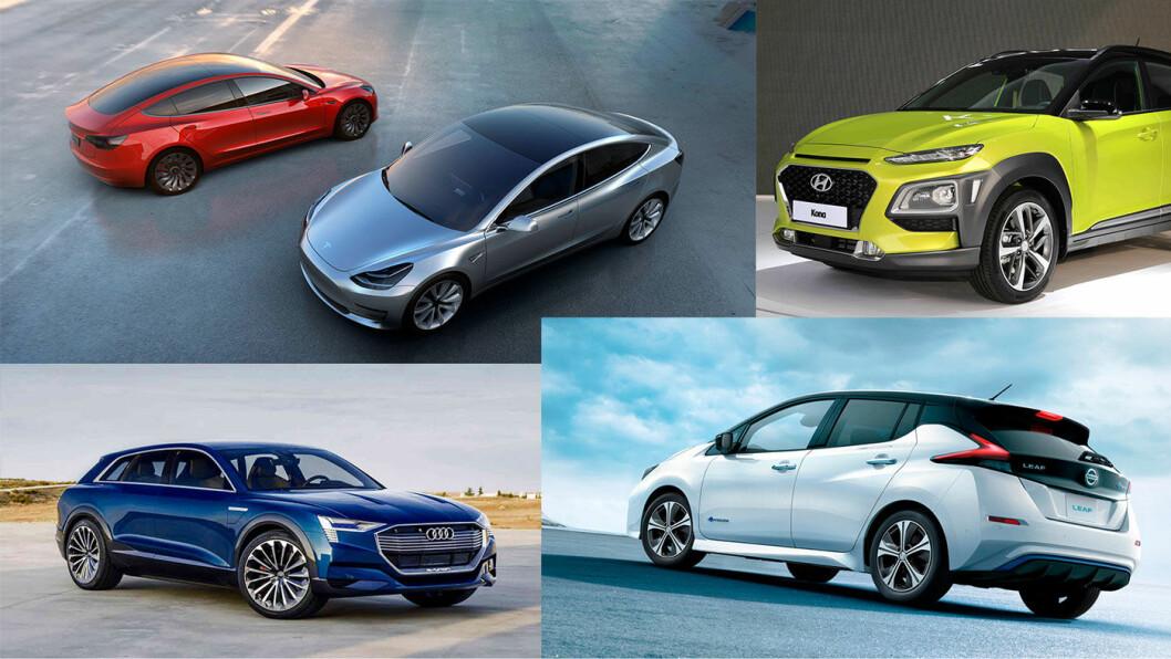 MANGE NYE ELBILER: Mange nye, spennende elbiler kommer til Norge i løpet av året –som Tesla Model 3 (fra oppe til venstre), Hyundai Kona, Nissan Leaf og Audi e-tron.