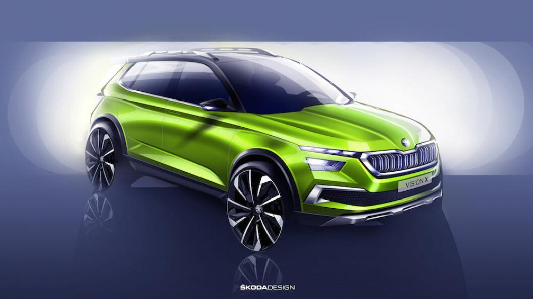 PÅ VEIEN NESTE ÅR: Vision X er forløperen til Skodas nye, lille SUV som kommer på veien neste år. Prisen er ennå ikke klar, men den vil starte under 300.000 kroner. Foto: Skoda