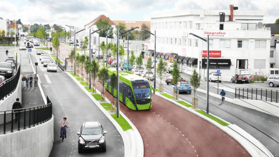 BUSSVEI: En skisse av bussveien med trolleybuss som går på elektrisitet, slik Rogaland fylkeskommune har publisert det på sin nettside. Bussene og Bussveien vil ha et eget design, som ennå ikke er klart, når Bussveien åpner i 2021. Foto: Bussveien.no