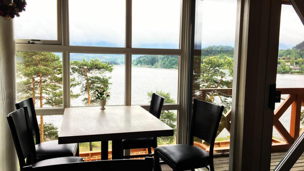 UTSIKT MOT FJORDEN: Det er hyggelig å kunne nyte maten mens man ser utover Steinsfjorden og grøntområdene utenfor.