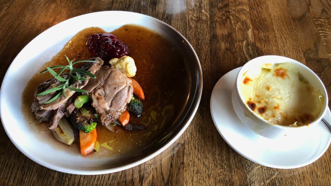 LAM-LAM: Filet av lokalt lam med wokede grønnsaker og gratinerte poteter.