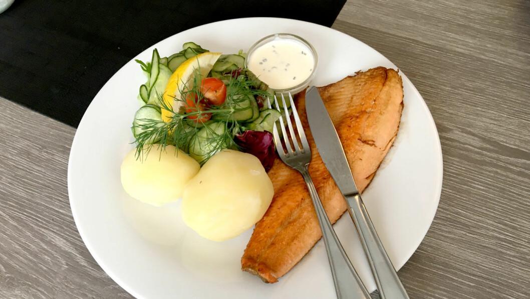 ET GODT VALG: Fjellørreten er akkurat passe sprøstekt, og det er raust med frisk og god agurksalat til.