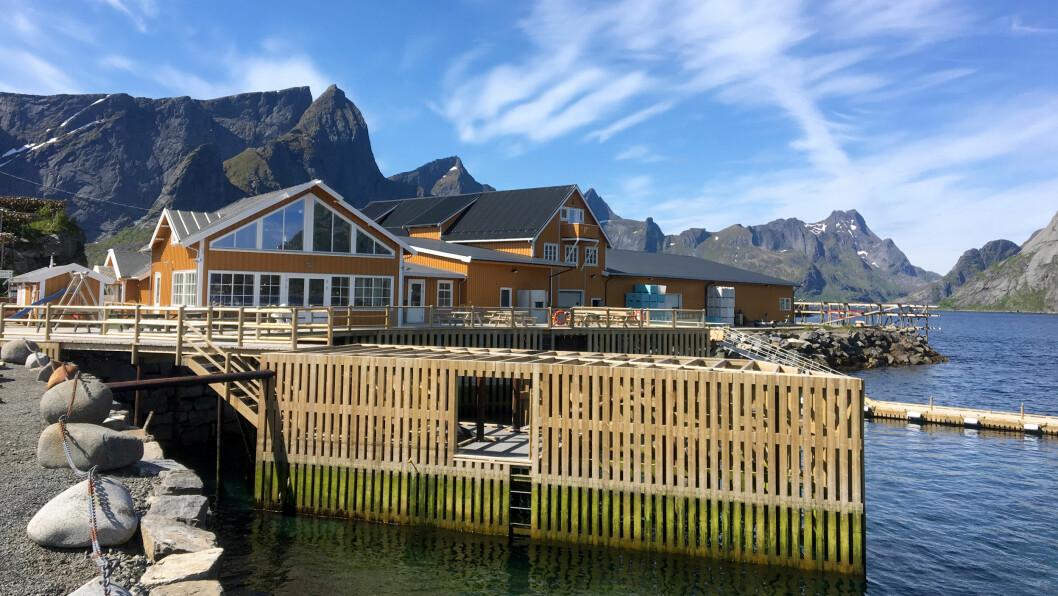 HELT I VANNKANTEN: La deg friste av en av de gode fiskeburgerne og sett deg på terrassen eller inne i det gule naustet med fjell og fjord i bakgrunnen.