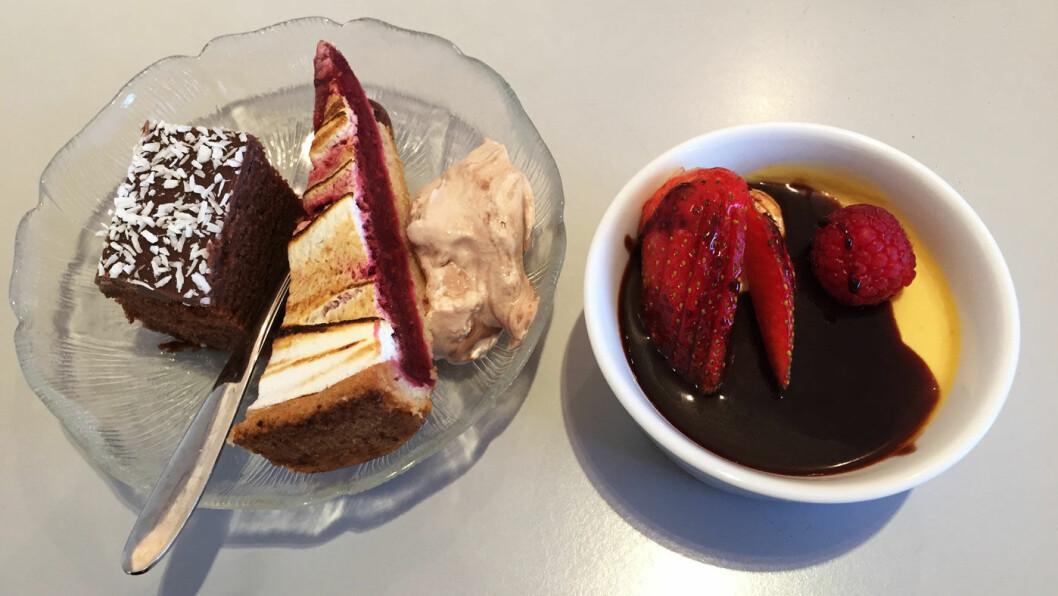 BUFFET: På buffeten er det et par desserter som gir en opptur.