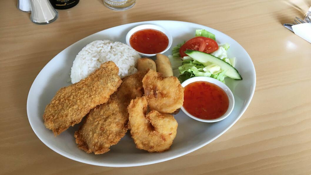 ASIA MIX: Vårruller, panert kylling og scampi, perfekt stekt og pent lagt opp på tallerkenen.