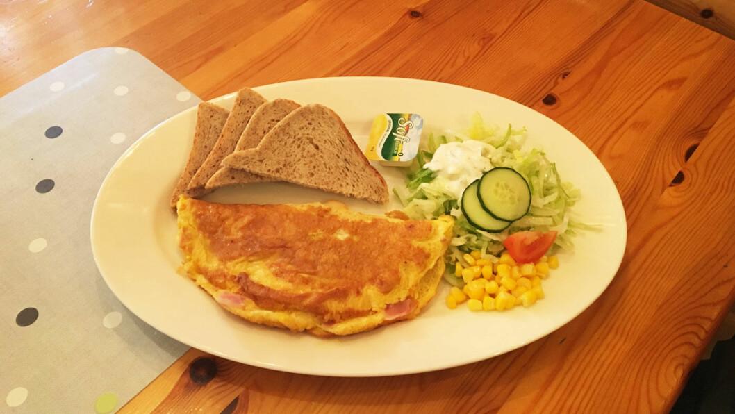 ET TRYGT VALG: Omelett med skinke og ost.