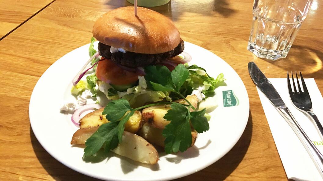 GRESK BURGER: Det ser fristende ut - en nystekt burger med mye godt tilbehør, stekte poteter og nygrillet brød. Hadde du bare ikke måttet slåss for å få has på den burgeren ... Foto: Motor-redaksjonen
