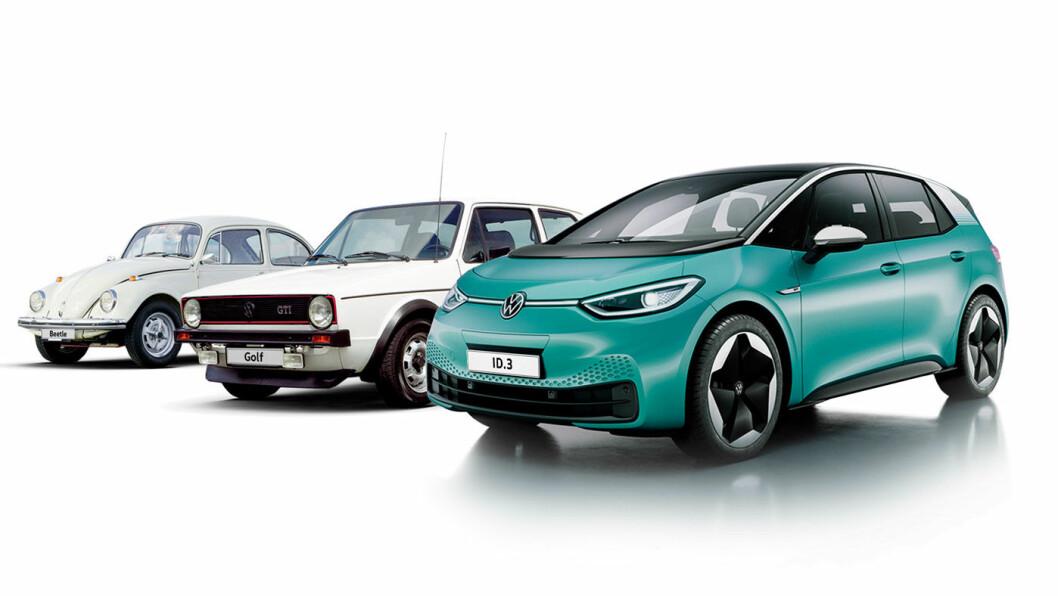 HELLIGE TRE BILKONGER: Volkswagen håper deres ID.3 skal ta en like legendarisk posisjon som Bobla og Golf-en.