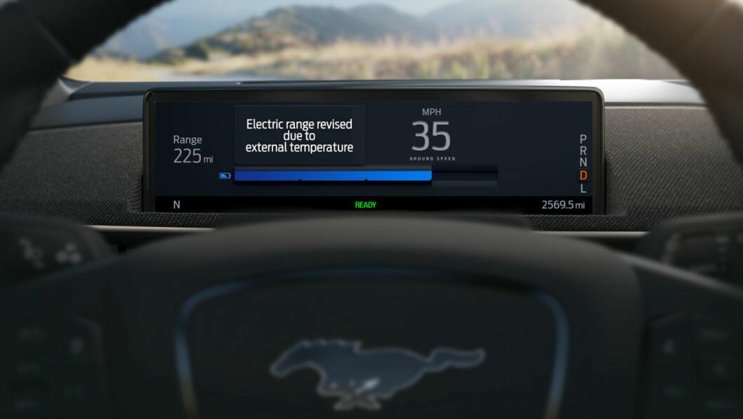 SKY IS THE REKKEVIDDE-LIMIT: Helelektriske Ford Mustang Mach-E får teknologi som skal gi svært pålitelige rekkevidde-estimater – og forhåpentligvis opptil 600 kilometer. Foto: Ford Motor