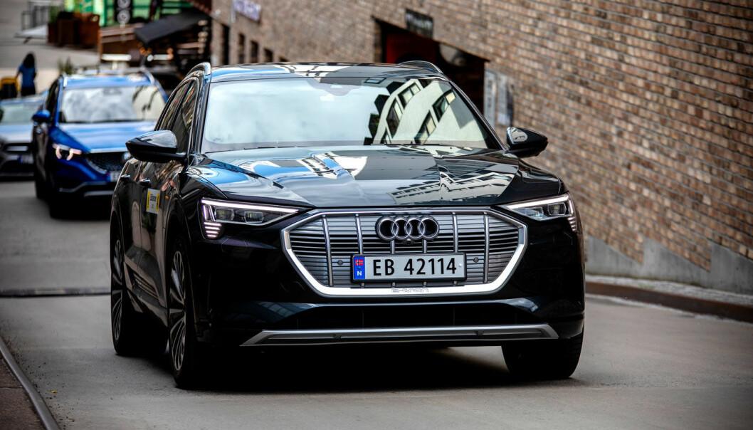 """<span class="""" font-weight-bold"""" data-lab-font_weight_desktop=""""font-weight-bold"""">IKKE FEILFRI: </span>Norges mest kjøpte bil, Audi e-tron, trekkes fram som en av modellene som i elektrisk versjon har flere feil enn man forbinder med produsenten."""