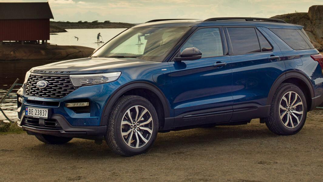 UBESKJEDEN: Ford Explorer kommer inn på markedet stor tyngde – men også en hybrid drivlinje som gjør den helelektrisk i 42 km. Foto: Ford Motor Norge