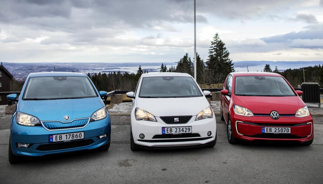 FØRSTE GENERASJON: Småbilene Skoda Citigo-e, Seat Mii Electric og VW e-Up! på toppen av Oslo.