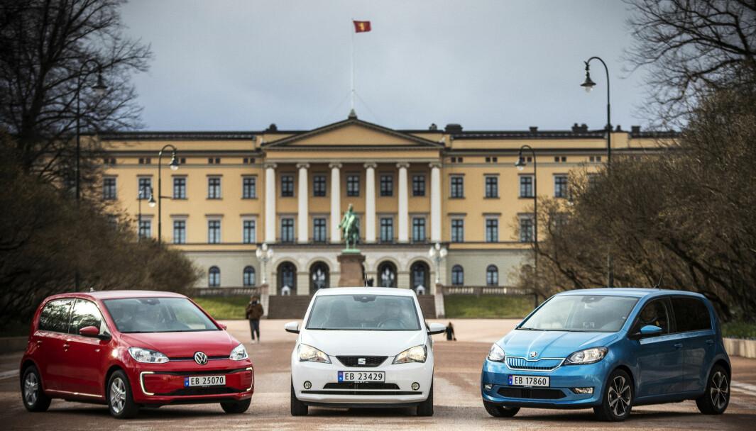 NYE FOLKEVOGNER? De små elbilene VW e-Up, Seat Mii Electric og Skoda Citigo-e (t.h.).